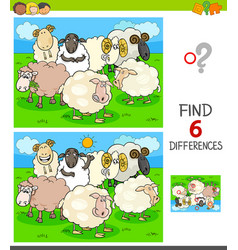 finding differences game with farm sheep vector image