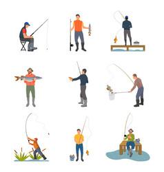 Fishing hobby activity set vector