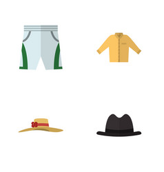 Flat icon clothes set of panama trunks cloth vector