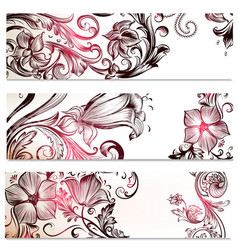 floral backgrounds set with ornaments vector image