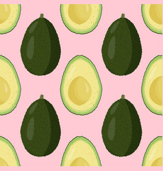 Fresh avocado seamless patter raw food background vector