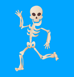Funny cartoon skeleton posing while running vector