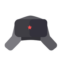 Furry hat with ear flaps and red star on front vector