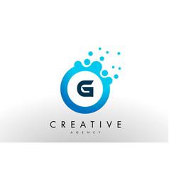 g letter logo blue dots bubble design vector image