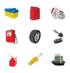 Garage icons set cartoon style vector image