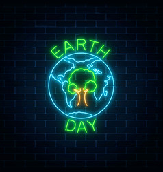 glowing neon sign of world earth day with tree in vector image