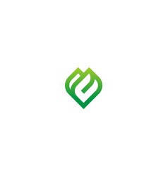 Green leaf line abstract logo vector