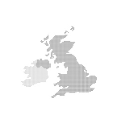 Grey Map United Kingdom In The Dot vector image