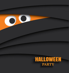 halloween party card with eyes of mummy in dark vector image