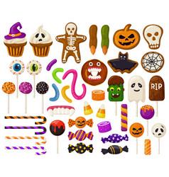 halloween sweets cartoon candies vector image