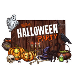 halloween witch monster party sketch poster vector image