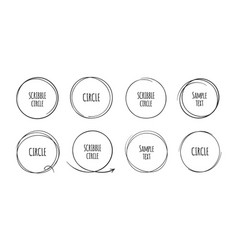 hand drawn circles doodle round frames for text vector image