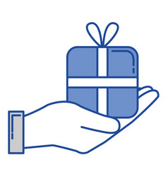 Hand human with gift box present icon Royalty Free Vector