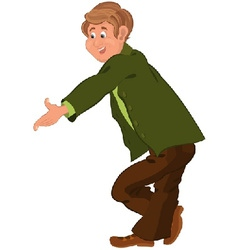 Happy cartoon man standing in green jacket vector