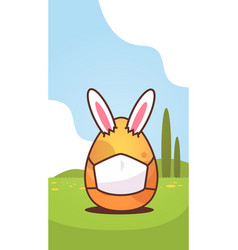 Happy easter bunny rabbit ears in egg with mask vector