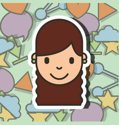 happy girl face on social media background vector image