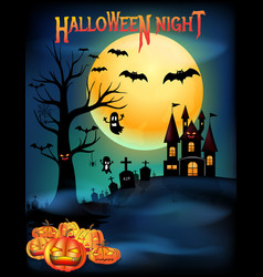 happy halloween night party poster with copy space vector image
