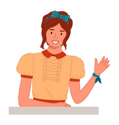 happy young girl smiling and waving woman vector image
