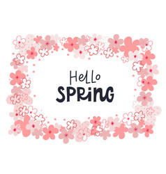 Hello spring wreath lettering flowers vector