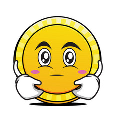 Hugging face coin cartoon character vector