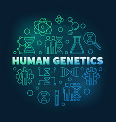 Human genetics round colored linear vector