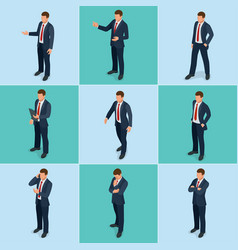 Isometric set of businessman and businesswoman vector