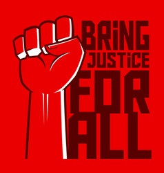 Justice for all hand poster vector