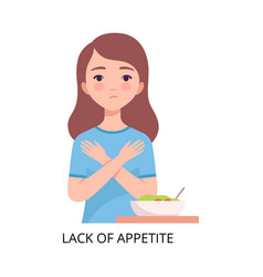 Lack appetite girl suffering from symptom of vector