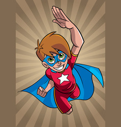 Little super boy ray light background vector