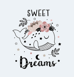 magic poster with cute floral whale vector image