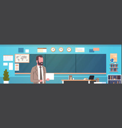 man teacher standing over chalk board in class vector image