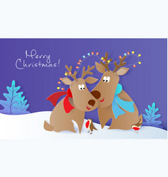 merry christmas design card with deers and birds vector image
