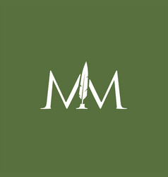 Mm letter mark feather pen signature quill double vector