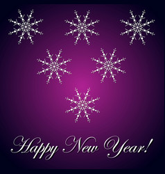 new year inscription and snowflake violet vector image