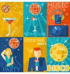Night Club Poster Set vector image