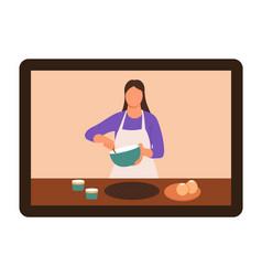 online video tutorial cook chef cook vector image