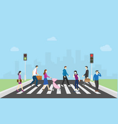 Pedestrian walk cross street with team people and vector