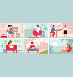 people remote working work meeting watch friends vector image