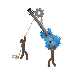 people with pulleys hanging the electric guitar vector image