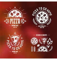 Pizzeria labels badges and design elements vector image