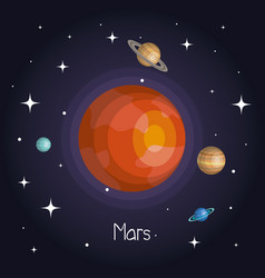 Planet in space with stars shiny cartoon style vector