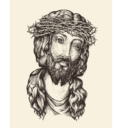 portrait jesus christ hand drawn sketch vector image