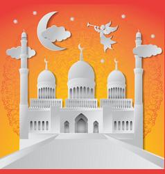 ramadan kareem background angel musical trumpet vector image