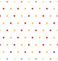 red yellow polka dots on white background vector image
