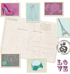 retro postcard with set fashion stamps vector image