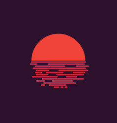 retro sunset sunrise logo design vector image