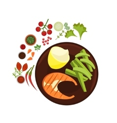 Salmon Grilled Steak on Plate vector