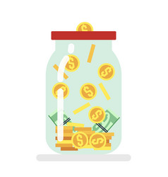 Saving money glass jar flat vector