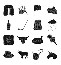 scotland country set icons in black style big vector image
