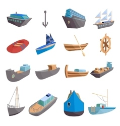Sea transport icons set cartoon style vector